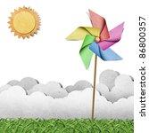 windmill on grass field...   Shutterstock . vector #86800357