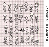 doodle members of large families | Shutterstock .eps vector #86802637