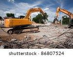 destroying reinforced concrete... | Shutterstock . vector #86807524