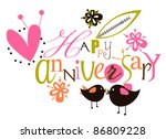 happy anniversary script card | Shutterstock .eps vector #86809228