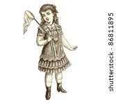 Girl   Vintage Engraved...
