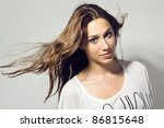 Portrait of beautiful and fashion model woman - stock photo