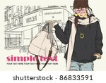 cute girl with bag on a street... | Shutterstock .eps vector #86833591