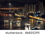 night shot of a city skyline. | Shutterstock . vector #86835295