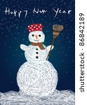 snowman and happy new year... | Shutterstock .eps vector #86842189