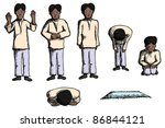 Man in different prayer positions with prayer mat