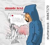 graffiti character on a usa... | Shutterstock .eps vector #86867170