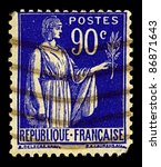 france circa 1938 a stamp... | Shutterstock . vector #86871643