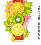orange banner with fruits slices | Shutterstock .eps vector #86882452