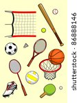 set of sport balls and equipment | Shutterstock .eps vector #86888146
