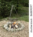 outdoor fireplace with barbecue ... | Shutterstock . vector #86889097