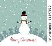 christmas card with a cute... | Shutterstock .eps vector #86897530