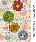 childlike seamless floral... | Shutterstock .eps vector #86908099