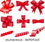 set of red bows and ribbons for ... | Shutterstock .eps vector #86909165