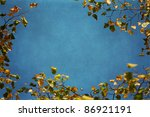 with autumnal leaves framed background picture with a delicate grunge texture - stock photo