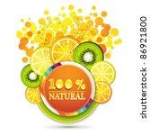 slice of orange  kiwi  and... | Shutterstock .eps vector #86921800