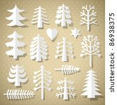 cutting christmas trees of... | Shutterstock .eps vector #86938375
