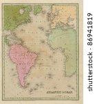 Antique Map Of The Atlantic...