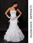 bride in white wedding dress... | Shutterstock . vector #86944672