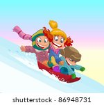 children on a sled ride with... | Shutterstock .eps vector #86948731
