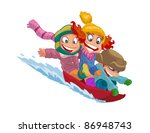 happy kids go on a sled