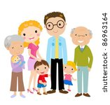 big cartoon family with... | Shutterstock .eps vector #86963164
