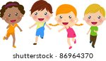 running kids | Shutterstock .eps vector #86964370
