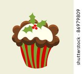 Christmas cupcake with holly berry. Vector illustration - stock vector