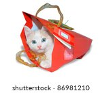 Stock photo funny white kitten in red packet 86981210