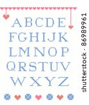 cross stitch alphabet with... | Shutterstock .eps vector #86989961