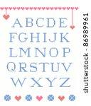 cross stitch alphabet with...   Shutterstock .eps vector #86989961