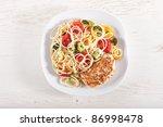 pasta primavera and chicken... | Shutterstock . vector #86998478