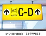 signs at an airport - stock photo