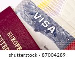 close up of american visa with...   Shutterstock . vector #87004289