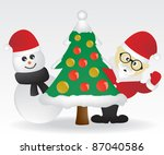 santa claus snowman and... | Shutterstock .eps vector #87040586