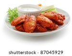 buffalo chicken wings with blue ... | Shutterstock . vector #87045929