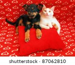 Stock photo two friends in the red home 87062810
