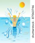 boy swimming   vector | Shutterstock .eps vector #87063746