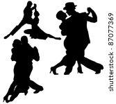 dance silhouettes   black... | Shutterstock .eps vector #87077369