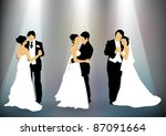 newly married couple silhouettes   Shutterstock .eps vector #87091664