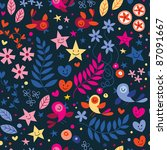 cute birds, flowers, stars and hearts pattern - stock vector