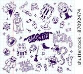 halloween doodle set school...   Shutterstock .eps vector #87092474