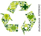 Recycle symbol with environmental icons . Vector file available. - stock vector