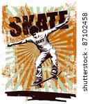 skate grunge poster with... | Shutterstock .eps vector #87102458