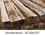 Stacked Long Railroad Ties In...