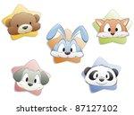 a set of cartoon animal faces....   Shutterstock .eps vector #87127102