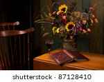 Floral Still Life With Wine An...