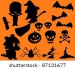 halloween silhouette set  ... | Shutterstock .eps vector #87131677