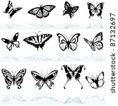 butterfly silhouettes  ... | Shutterstock .eps vector #87132697