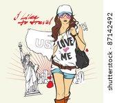yong girl with bag in sketch... | Shutterstock .eps vector #87142492